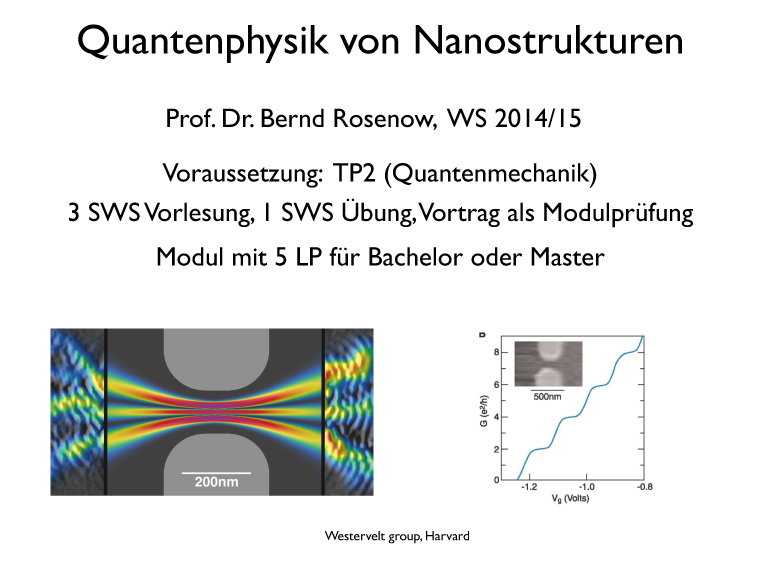 Quantum Physics of Nanostructures